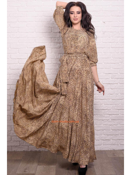 Женское леопардовое платье в пол большого размера