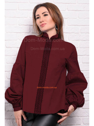 Коттоновая рубашка с длинным рукавом для полных женщин