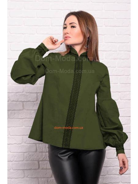 Коттонова рубашка із довгим рукавом для повних жінок