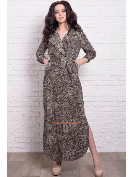 Женское длинное платье в леопардовый принт большого размера