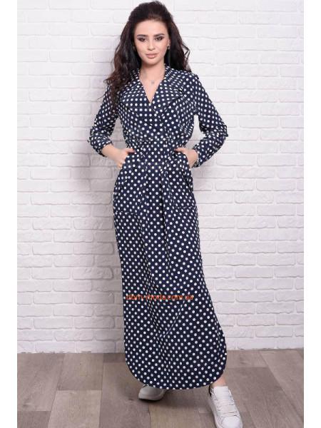 Макси платье большого размера в полоску и горошек