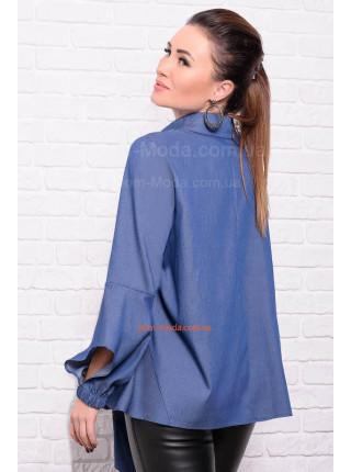 Джинсовая женская рубашка с поясом большого размера