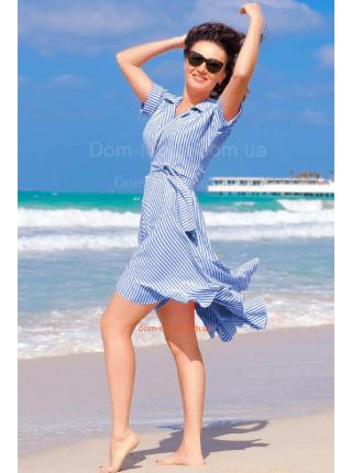 Летнее женское платье короткое в полоску для полных