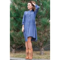 Оригинальное джинсовое платье короткое с рукавом для полных