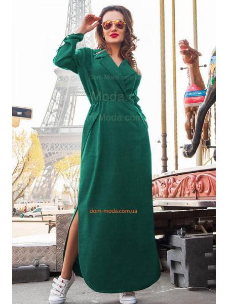 Длинное льняное платье для полных девушек