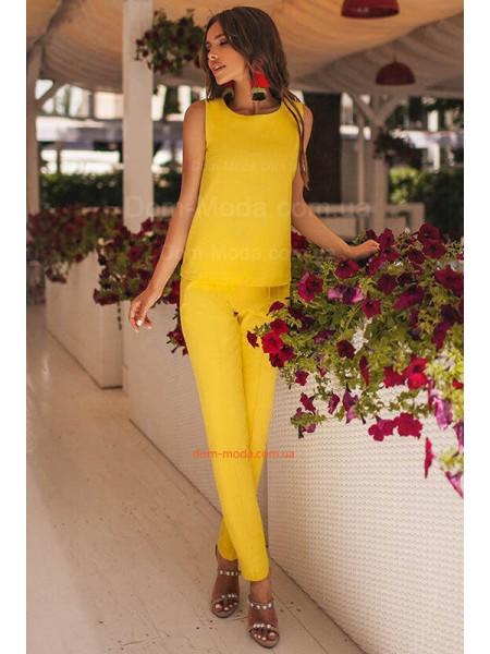 Женский летний брючный костюм с блузкой большого размера