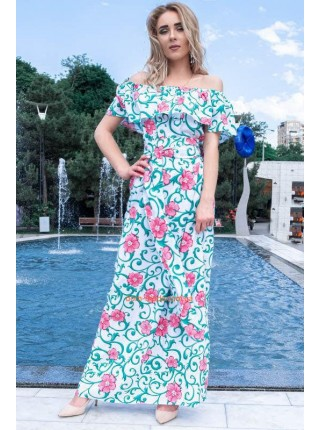 Длинное платье женское с открытыми плечами для полных