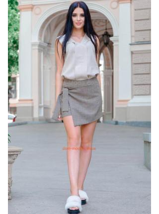 Льняные женские шорты юбка большого размера