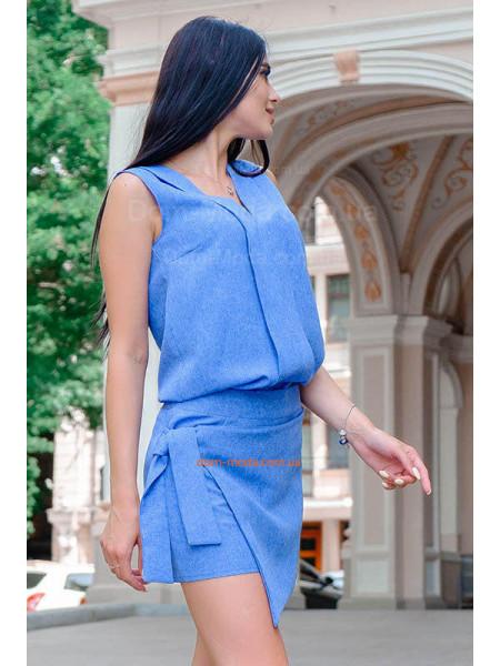 Льняні жіночі шорти спідниця великого розміру