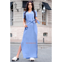 Женское льняное платье макси с разрезами для полных