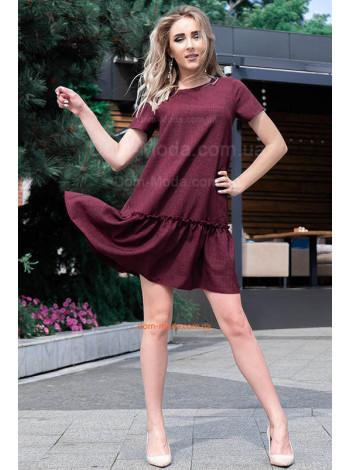 Коротке плаття літнє із воланом для повних
