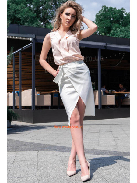 Женская льняная юбка на запах большого размера