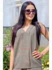 Легка лляна блузка без рукав великого розміру