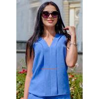 Легкая льняная блузка без рукав большого размера