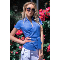 Женская льняная блузка на запах для полных женщин