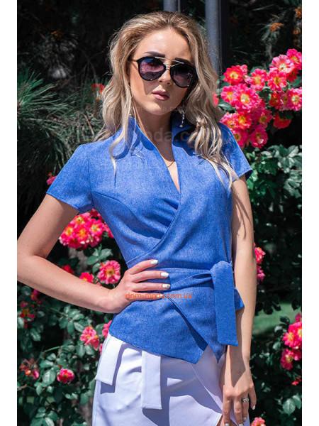 Жіноча лляна блузка на запах для повних жінок