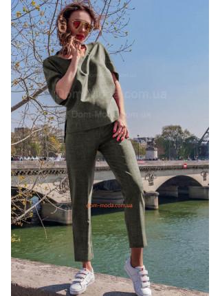 Льняной брючный костюм для полных женщин