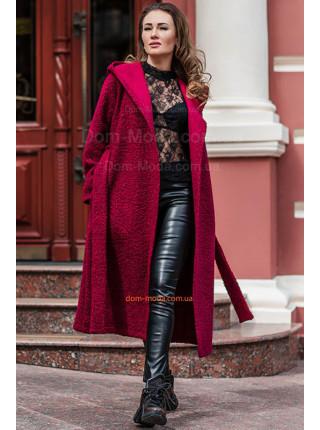 Модное пальто из букле на запах для полных