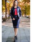 Модный кожаный костюм с юбкой большого размера