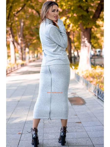 Жіночий ангоровий костюм зі спідницею міді великого розміру