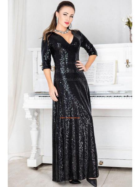 Вечернее стильное платье в пол и в пайетку большого размера
