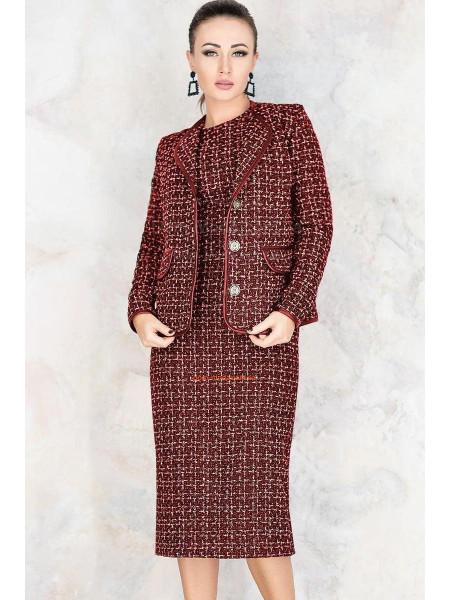 Женский твидовый костюм с пиджаком большого размера