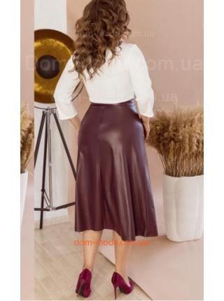 Женская юбка миди из кожи