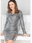 Короткое женское платье в пайетки для полных