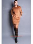 Короткое замшевое платье для полных девушек