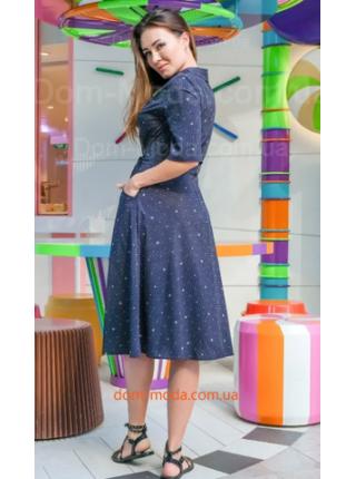 Джинсовое платье рубашка с поясом для полных