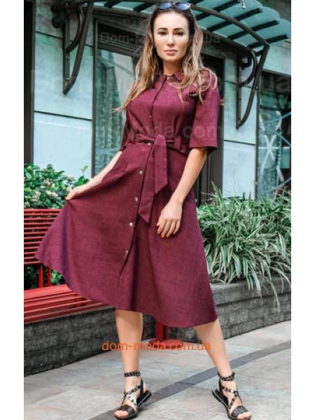 Льняное женское платье рубашка