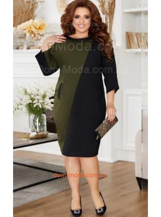 Короткое платье с карманами для полных