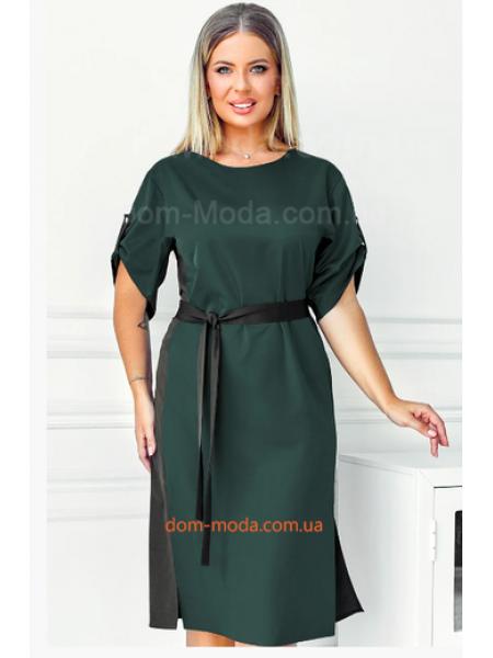 Платье с поясом для полных