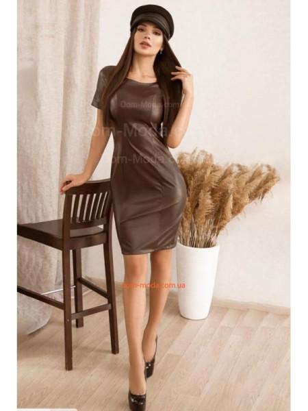 Коротке шкіряне плаття