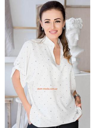 Блузка с коротким рукавом для полных
