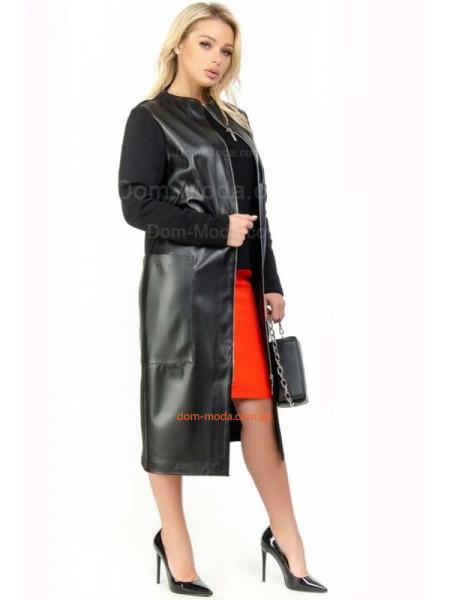 Кашемировое пальто с кожей для полных