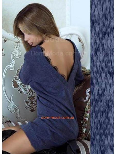 Теплое платье туника с открытой спиной