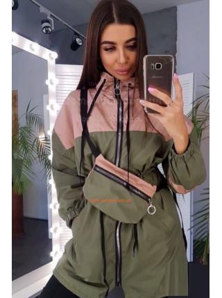 Удлиненная куртка ветровка женская с сумкой