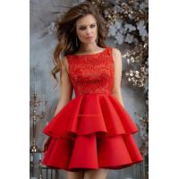Жіноче нарядне міні плаття з пишною спідницею