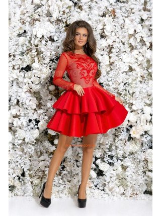 Нарядное мини платье с воланами