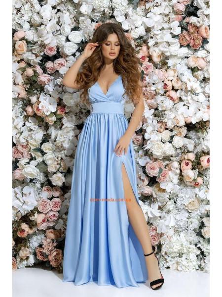 Шелковое вечернее платье в пол с пышной юбкой