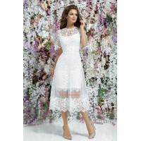 Женское гипюровое нарядное платье с коротким рукавом