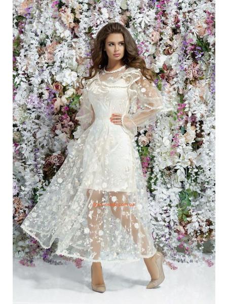 Вечернее длинное платье с прозрачной юбкой