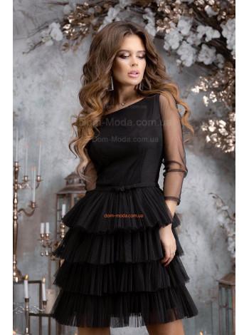 Коротке вечірнє плаття приталене з пишною спідницею