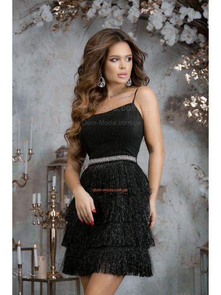 Коктейльное платье с бахромой на юбке