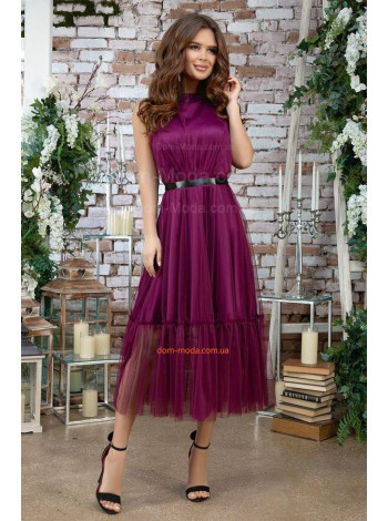 Красивое вечернее платье миди с пышной юбкой