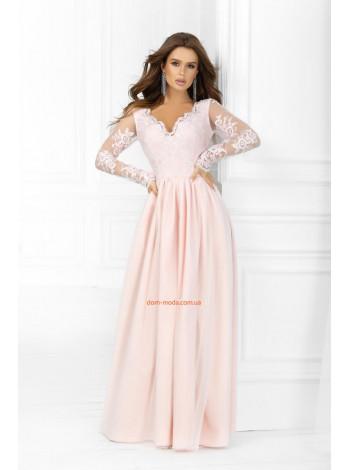 Женское вечернее макси платье с рукавом