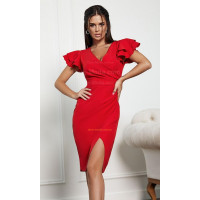 Короткое приталенное платье с разрезом