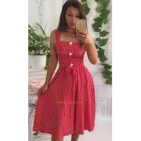 Коротка жіноча сукня в горошок зі штапелю