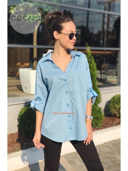 Рубашка женская голубая белая